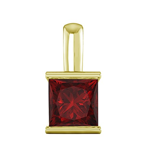 - OMEGA JEWELLERY 1/2 Ct Princess Cut Gemstone Solitaire Pendant In Solid 10K Yellow Gold (Ruby)