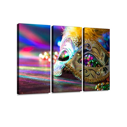 Mardi Gras, Rio Carnival mask and Colorful Decorations. 3 Pieces Print On Canvas Wall Artwork Modern Photography Home Decor Unique Pattern Stretched and Framed 3 -