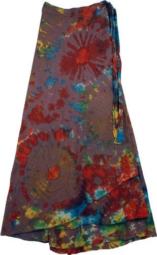 TLB Kaleidoscope Tie Dye Wrap Long Skirt - Brown Tie Dye - L:40; W:Wrap Around Style