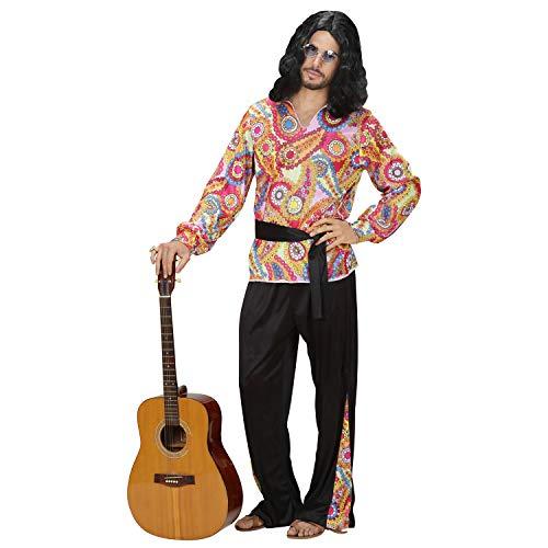 Widmann 76190 - Kostüm Hippie Dude, Shirt, Hose und Gürtel, Flower Power, Verkleidung, Karneval, Mottoparty