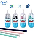 Collapsible Straws, Bosunny 4 Pack Reusable Silicone Straws with Case, Silicone Collapsible Smoothie Straws BPA Free Folding Drink Straw with Brush and Case for Home, Office, Travel and Party Gift Use