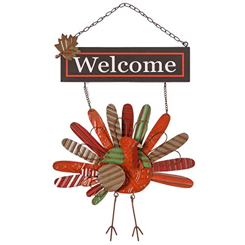 Ogrmar Vintage Metal Thanksgiving Turkey Wall Hanging Decoration Welcome Sign Front Door Ornament Festive Whimsical Decor