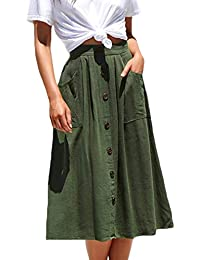 9211aae88 Womens Casual Front Button A-Line Skirts High Waisted Midi Skirt with  Pockets