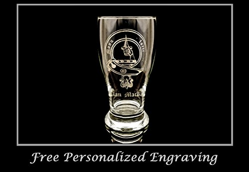 Clan MacKay Scottish Crest Pint Glass- Free Personalized Engraving, Family Crest, Pub Glass, Beer Glass, Custom Beer Glass ()