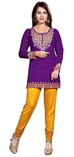 Indian Tunics Kurti Top Blouse Womens India Apparel (Purple, XXXL)