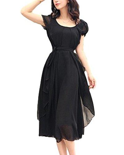 (ビアヴィス)BAvis シフォン ドレス ワンピース ロング 丈 半袖 Aライン リボン フレア レディース 163