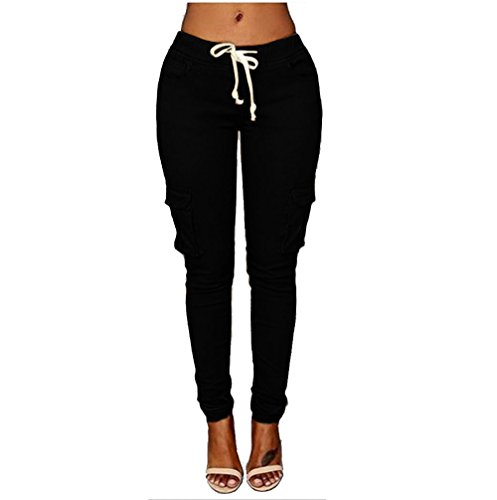 (iZHH Womens Pencil Pants Stretch Pencil Trousers High Waist Casual Slim Stretch Elastic Trousers Black)
