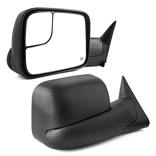 Towing Mirrors for Dodge Ram, YITAMOTOR Power Heated Manual Flip Up Tow Mirrors Pair Set, for 1998-2001 Dodge Ram 1500, 1998-2002 Dodge Ram 2500 3500 (Support brackets ()