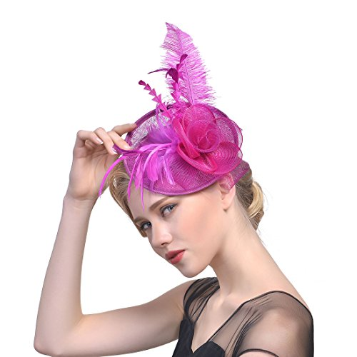 CHLONG Sinamay Feather Fascinator Hat Pillbox Headband for Women Wedding Tea Party Cocktail (Rose)
