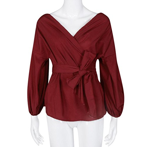 Coton Blouse Rouge Shirt Col Nue Femme Casual V T Soire Chemisier Top Chemise Et Epaule Ansenesna Chic TBqw1In