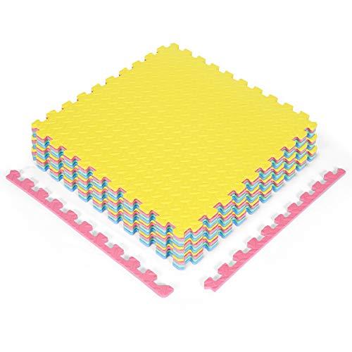 COSTWAY 12-delige Multifunctionele oefen vloermatten met dik EVA-schuim, in elkaar grijpende tegels speelmatten…