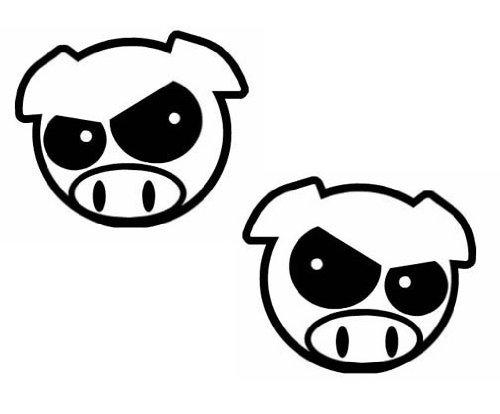 (Pack of 2) iJDMTOY JDM Style Mad Evil Pig Head Die-Cut Decal Vinyl Stickers (White or Black)