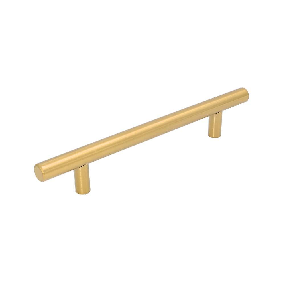 5x Goldenwarm/® T Stangengriff M/öbelgriffe Messing goldfarben Hohle Edelstahl K/üchenschrank T/ürgriffe Bohrlochabstand 192mm Gesamtl/änge 256mm