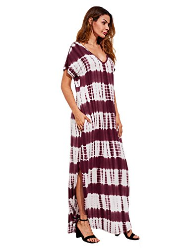 MAKEMECHIC Casual Maxi Short Sleeve Split Tie Dye Long Dress Burgundy XL