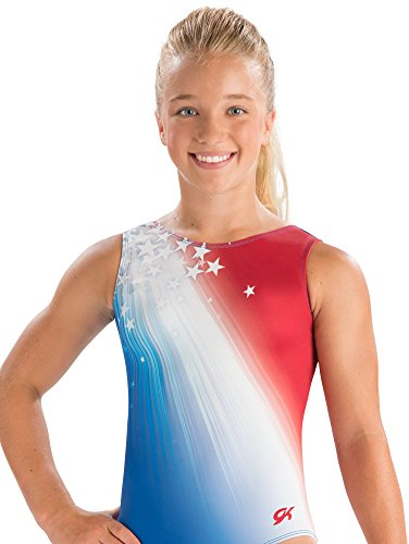 GK Shooting Stars Gymnastics Leotard (Stars & Stripes Flag) | Ballet Dance One-Piece for Women & Girls -