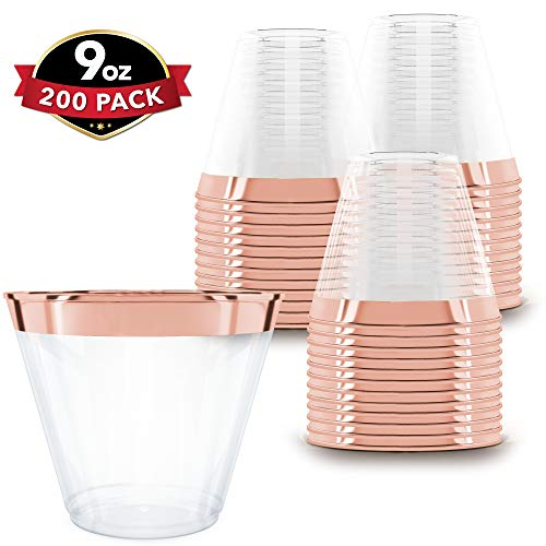 Clear Plastic Cups With Rose Gold Rim | 9 oz. - 200 Pack | Hard Disposable Cups | Plastic Wine Cups | Plastic Cocktail Glasses | Plastic Drinking Cups | Bulk Party Cups | Wedding Tumblers ()