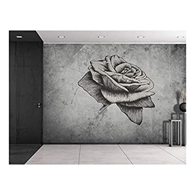 Made For You, Marvelous Piece, Rose Sitting on a Grayscale Grungy Texture with a Vignette Effect Around It Wall Mural Removable Vinyl Wallpaper