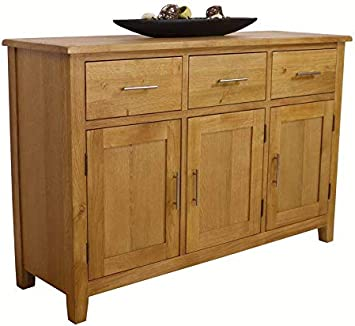 Large Solid Wood Sideboard Cabinet Storage Cupboard Furniture 3 Drawers Doors UK