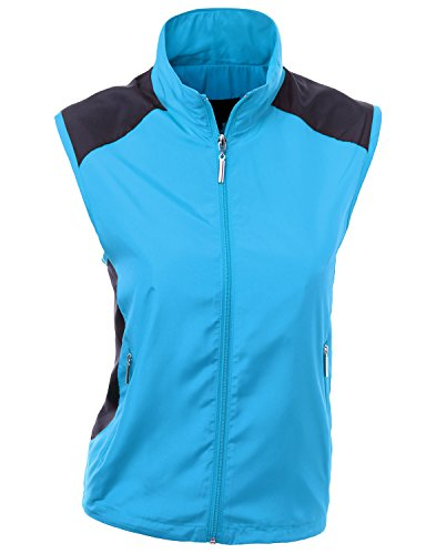 - Xpril All Weather Proof Comfortable Wear Loose Fit Zipup Vest Aqua Size XL