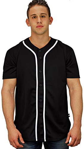 Baseball Jersey T-Shirts Plain Button Down Black XL (La La Baseball Jersey)