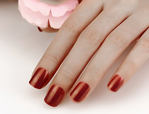ArtPlus 24pcs x 3 (3-Pack) Brown Gold Glittering False Nails Full Cover Short and Small with Adhesive Tabs Pressed On and Glue Fake Nails