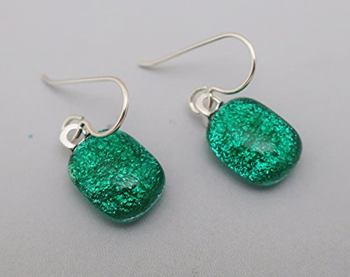 Green Dichroic Glass Earrings (Dainty Fused Green Dichroic Glass dangle Earrings 925 Sterling silver ear wires)