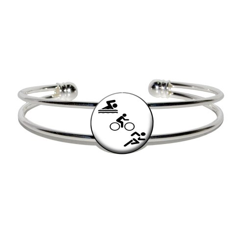 Triathlete Swim Bike Run - Triathlon - Novelty Silver Plated Metal Cuff Bangle - Costume Triathlon