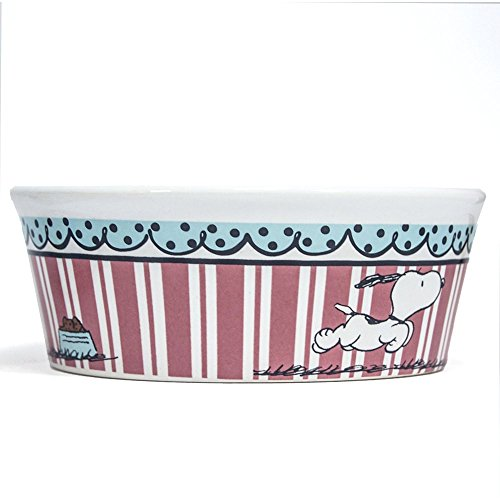 Peanuts Snoopy Pink Stripe Dog Food Bowl - Heavy Stoneware Pet Dish (5
