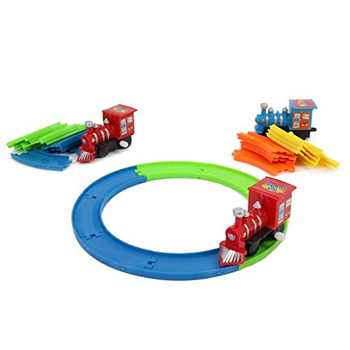 Classic Wind Up Train Set with 5 Bright Colored Tracks for Ages 3 and Up (Colors may Vary) - Vintage Wind Up Toys for Christmas | Birthdays | Kindergarten - Novelty Toy Vehicle Play Set by dazzling toys