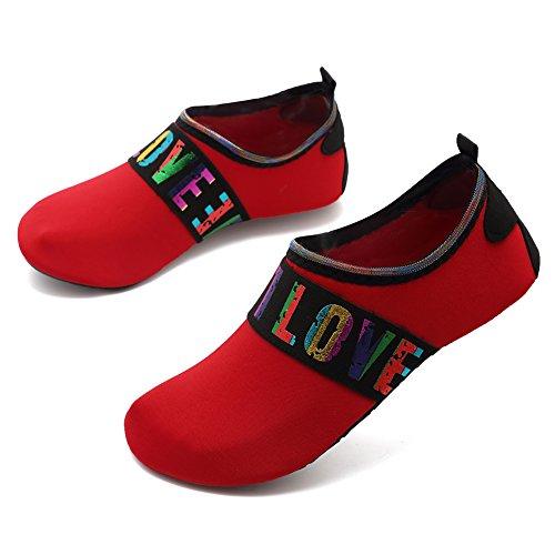 EQUICK Frauen Wasser Schuhe Quick-Dry Verschnaufpause Sport Haut Schuhe Barfuß Anti-Rutsch-Multifunktionssocken Yoga Übung L.red