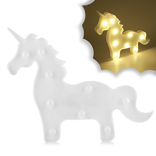 Unicorn Table Night Light Lamp for Kids Bedroom, Battery Operated LED Desk Night Light Lamp for Party Wedding Birthday Romance Atmosphere, Cute Animal Decoration Night Light (Unicorn (Night Glow Go Back Sign)