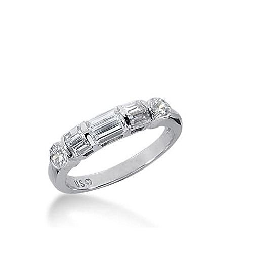 14k Gold Diamond Anniversary Wedding Ring 4 Straight Baguette, 2 Straight Baguette Stones, and 2 Round Brilliant Diamonds Total 0.98ctw 612WR237214k - Size (Straight Baguette Diamond Band)
