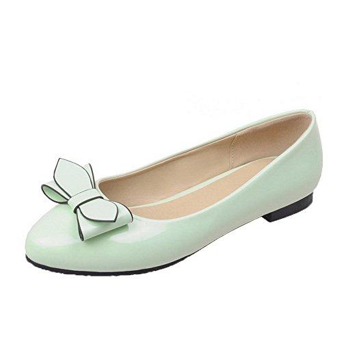 Allhqfashion Dames Gesloten Teen Pull-on Pu Stevige Lage Hak Pumps-schoenen Groen