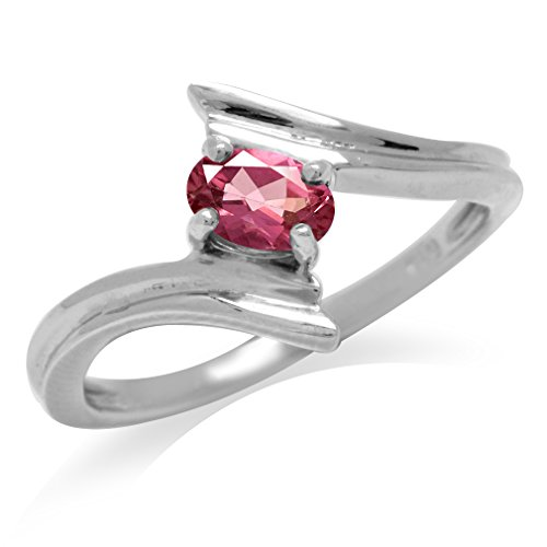 - Natural Pink Tourmaline White Gold Plated 925 Sterling Silver Bypass Solitaire Ring Size 9