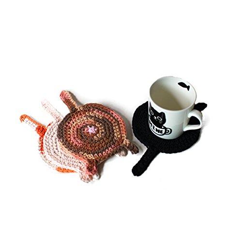 Crochet cat butt coasters by Geekirumi! - Cotton yarn drink mats - Calico, black, tortoisehell and sphynx (set of 4) ()