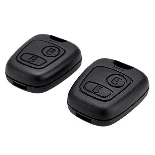 PyLios(TM)2Pcs Remote Key Uncut Car Key Blade Fob Case Replacement Shell Cover For Citroen C1 C4 Peugeot 107 207 307 407 206 306 406