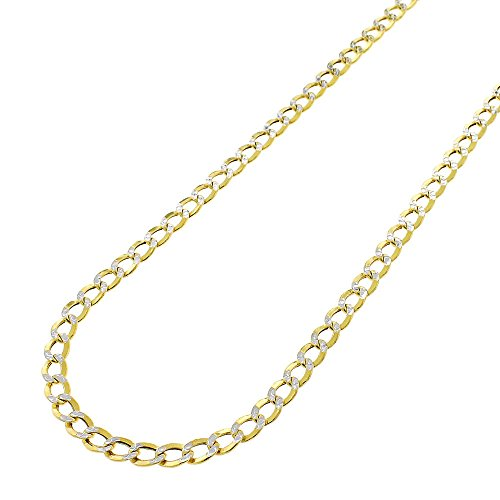 14k Yellow Gold 3.5mm Hollow Cuban Curb Link Diamond Cut Two-Tone Pave Necklace Chain 16