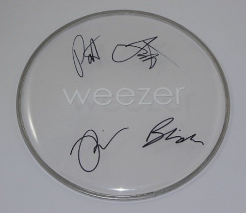 Weezer Pinkerton Group Signed Autographed Drum Drumhead Loa (Weezer Signed)