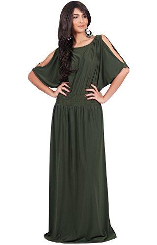 KOH KOH Plus Size Womens Long Split Flowy Short Sleeve wi...