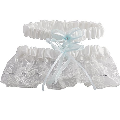 White and Blue Embroidered Wedding Garter Set with Tulle and Crystals