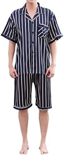 パジャマ CHJMJP 夏の男性のパジャマセットソリッドシルクストライプのスーツ半袖サテンショートパンツパジャマ男性パジャマ春パジャマ (Color : E ブルー, Size : XL)