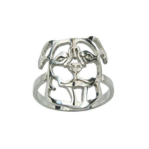 H&H jewellery Hovawart bague d'argent rhodi - 50; Bigouterie d'argent - Bague (titre 925/1000)
