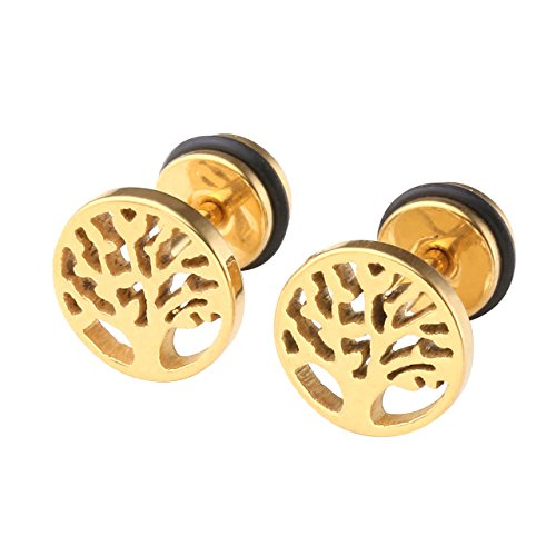 - Zysta 1-3 Pairs Stainless Steel Tree of Life Stud Earring Fake 9MM Ear Gauge Illusion Earrings Ear Plugs Piercings Hypoallergenic Screw