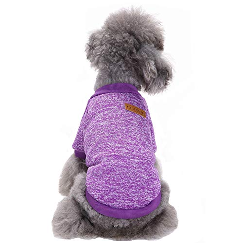 CHBORLESS Pet Dog Classic Knitwear Sweater Warm Winter Puppy Pet Coat Soft Sweater Clothing for Small Dogs (XS, Purple)
