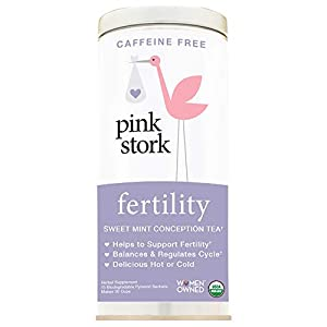 Pink Stork Fertility Tea: Sweet Mint Tea, USDA Organic Loose Leaf in Biodegradable Sachets, Hormone Balance, and Cycle Regulation Support Fertility Naturally, Drug Free 30 Cups, Caffeine Free