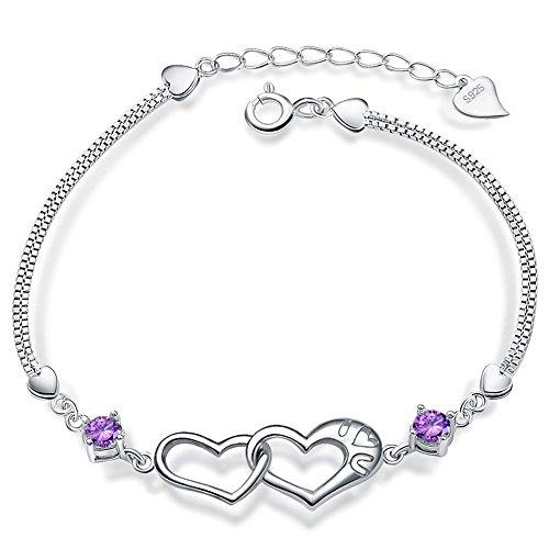 (ASHMITA Fashion Heart Bracelets Women 925 Sterling Silver Dainty Adjustable Chain Crystal Jewelry)