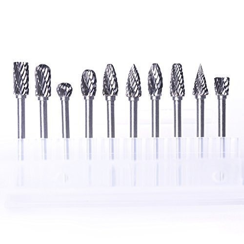 ATOPLEE Rotary Burr Set,10pcs 1/8 Inch Shank Tungsten Steel Solid Carbide Rotary Files Diamond Cutting Burrs Set for Woodworking Drilling Carving Engraving
