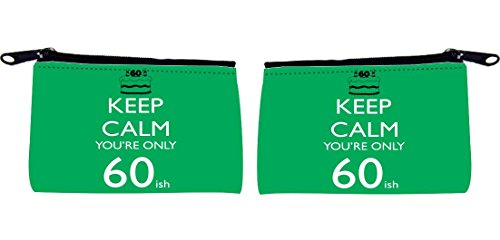 Rikki Knight Keep Calm You're only 60ish Design Keys Coins Cards Cosmetic Mini Clutch Wristlet