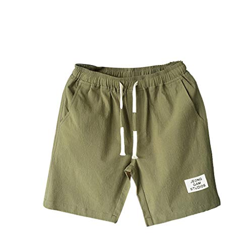 Giulot Men's Classic Fit Casual Fleece Jogger Gym Workout Short Pants with Elastic Waist Athletic Gym Sweat Shorts Army Green by Giulot (Image #3)