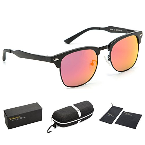 Dollger Red Polarized Sunglasses for Women Classic Mirror Clubmaster Half Frame - Shades Mirror